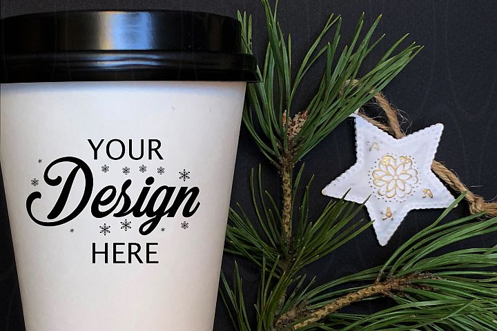 Holidays Styled Photography White coffee glass mock up stars