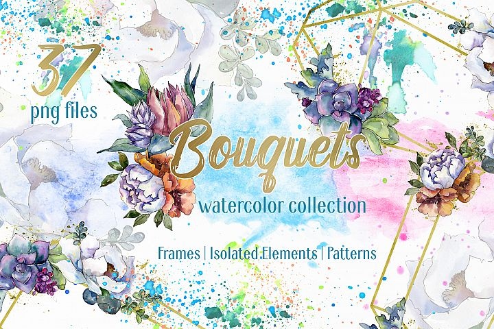 Bouquet floral rainbow watercolor png