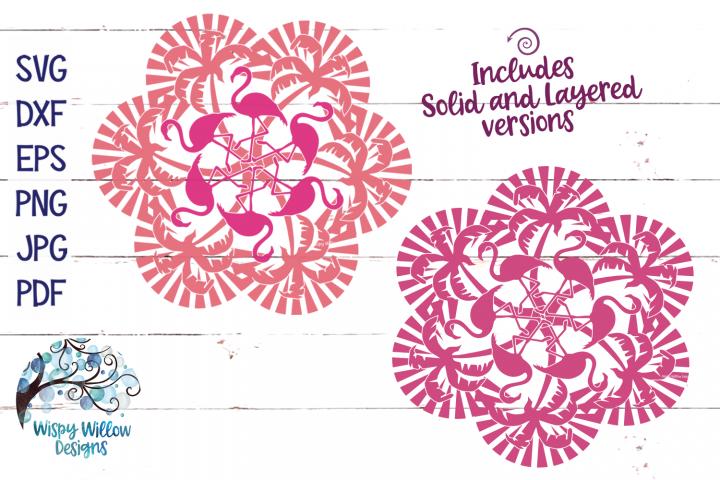 Palm Tree and Flamingo Mandala SVG Cut File
