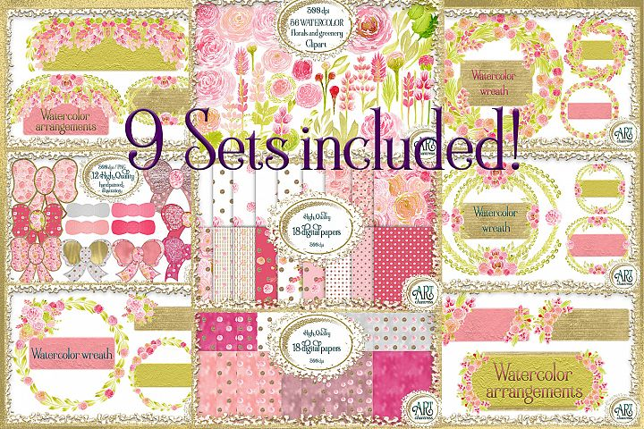 9 Sets Bundle-Graphics&Digital Papers,wreaths,floral frames
