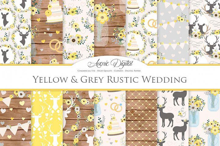 Yellow and Gray Wedding Digital Paper - Yellow Rustic Deer Wedding Seamless Patterns
