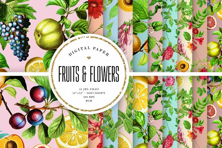Vintage Fruits And Flowers Digital Paper, Pastel Backgrounds
