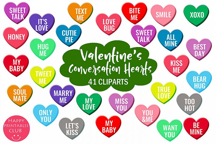 Valentines Conversation Hearts Cliparts-Love Hearts