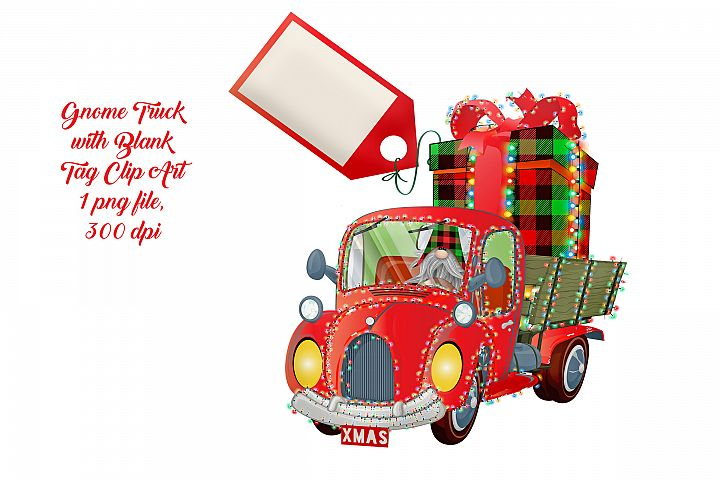 Christmas Truck with Scandia Nordic Gnome & Blank Tag