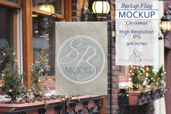 Burlap Yard Flag Mockup for Christmas, Rustic Flag Mock Up