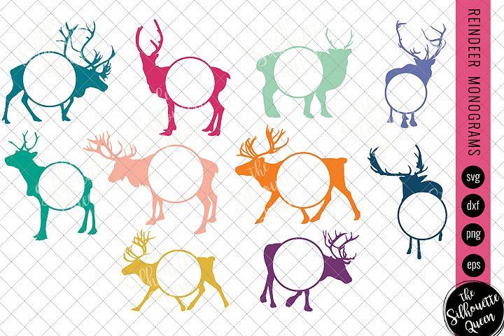 Reindeer Svg, Monogram Svg, Circle Frames, Cuttable Design,