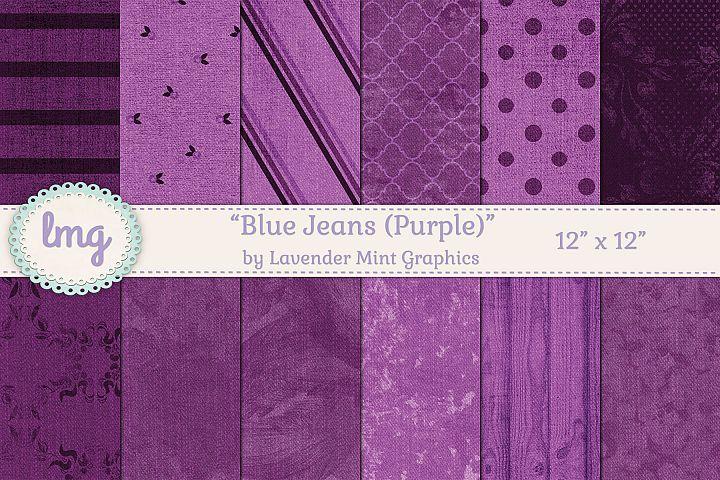 Purple Denim Blue Jean Digital Scrapbooking Paper-Polka Dots