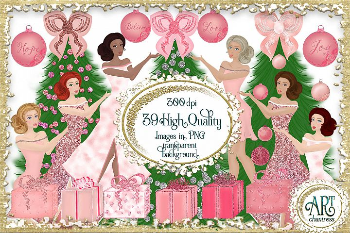 Pink Christmas Glitter Clipart 39 PNG Illustrations