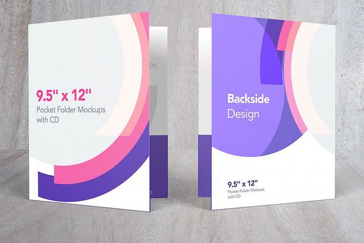 Pocket Folder Mockups with CD 9.5 x 12