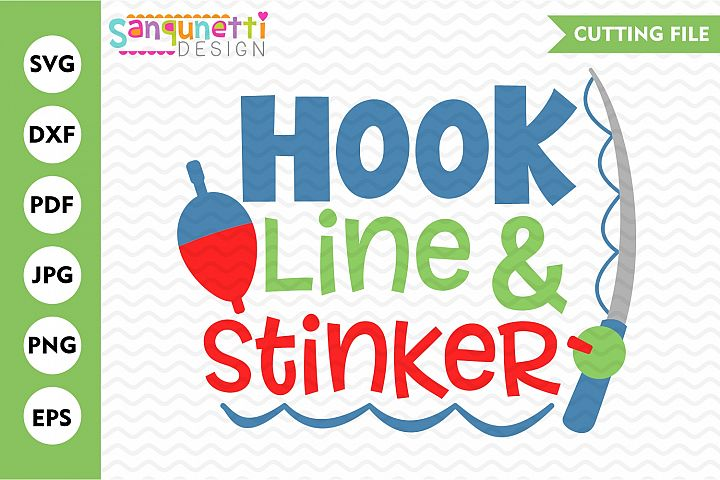 Hook Line and stinker fishing SVG, baby and boys cut file