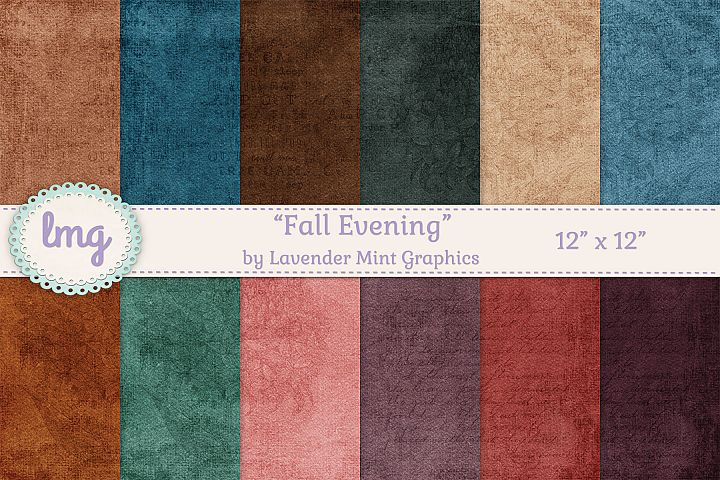 Fall Autumn Scrapbook Papers in Gold, Green, Teal, Purple