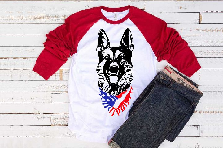 German shepherd dog head whit Scarf US flag SVG 1276s