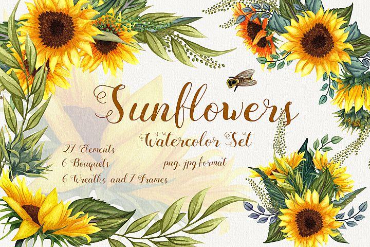 Sunflowers Watercolor Set