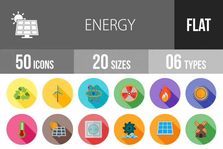 50 Energy Flat Long Shadow Icons