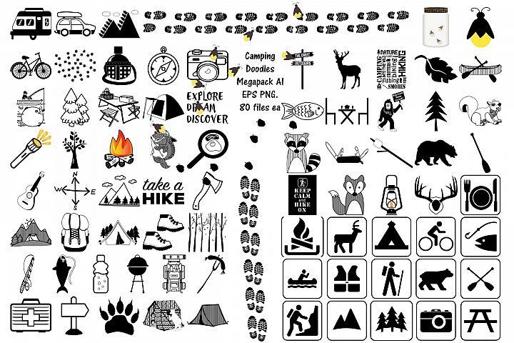 Camping Doodles & Silhouettes Mega Bundle AI EPS PNG