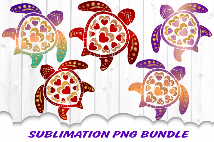 Valentine Mandala Turtle Glitter Sublimation PNG Bundle
