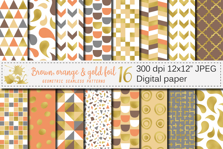 Brown, orange and gold foil seamless geometric patterns