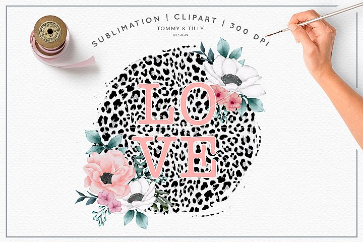 Love Leopard Print Background - Sublimation PNG Clipart