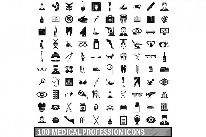100 medical profession icons set, simple style