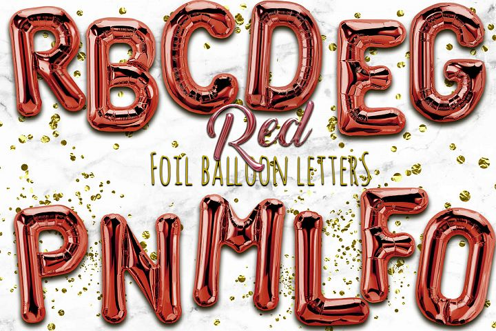 Red Foil Balloon Numbers PNG- Hand Drawn