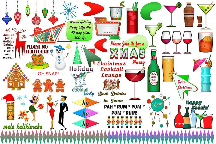 Mid Century Retro Christmas Party Clip Art..ATOMIC AGE...