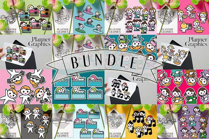 Hobby illustrations bundle - planner sticker graphics