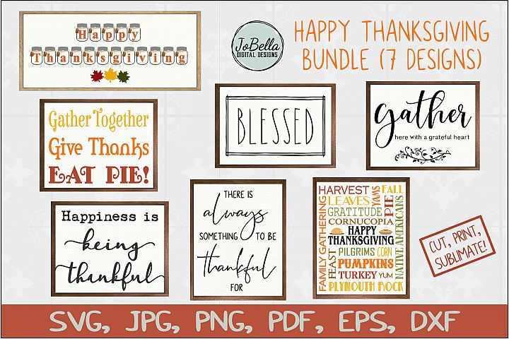 Thanksgiving SVG Bundle, Sublimation PNGs and Printables