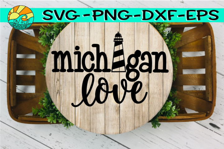 Michigan Love - Lighthouse - SVG - PNG - EPS - DXF