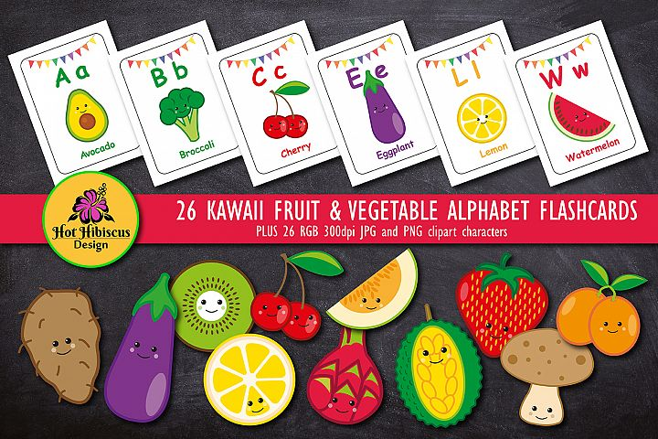 Fruit Vegetable Teaching ABC Alphabet Character Flashcards