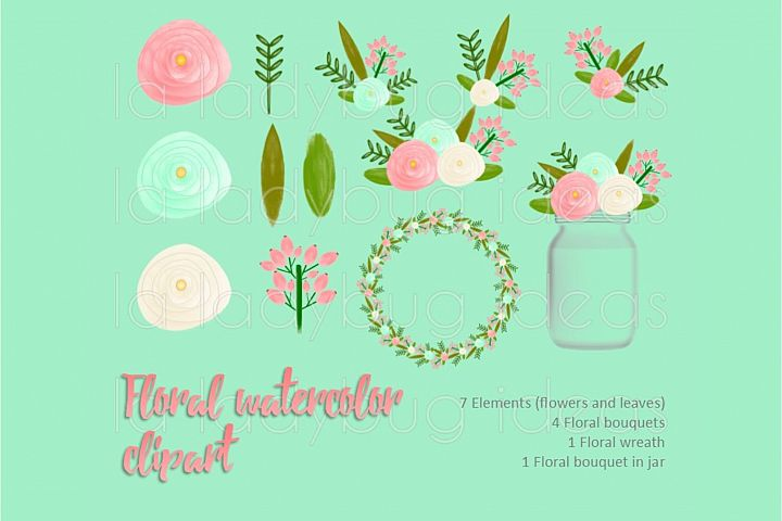 Coral and mint floral watercolor clip art collection.