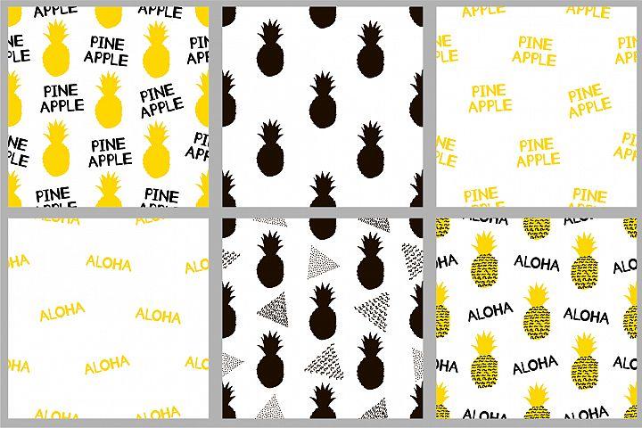 Pineapple patterns. EPS10, Ai, JPG, SVG