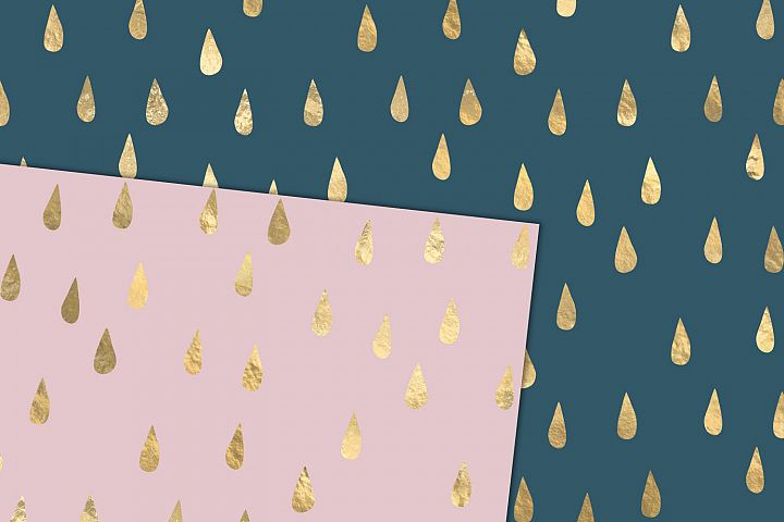 Gold Rain Drops Digital Paper example 1