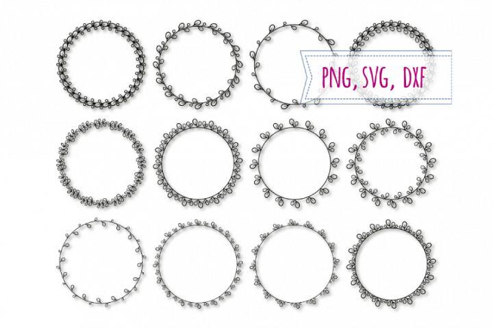 12 Round elegant frames svg. Spring frame