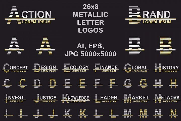 26x3 metallic letter logo designs AI, EPS, JPG 5000x5000