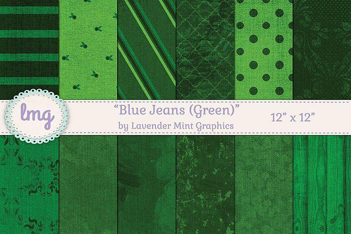 Green Blue Jean Digital Scrapbooking Papers