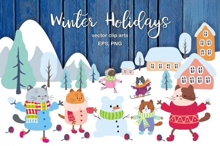 Winter Holidays. Funny cats vector set