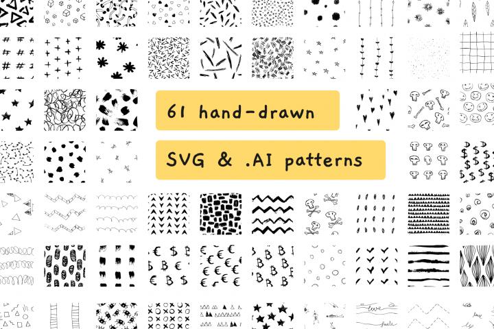 HUGE BUNDLE of 61 seamless SVG & vector patterns.