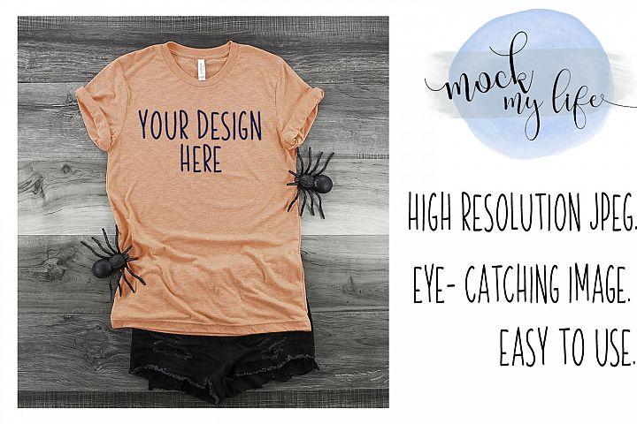 Mockup Bella Canvas Shirt / Halloween Flat Lay / Orange