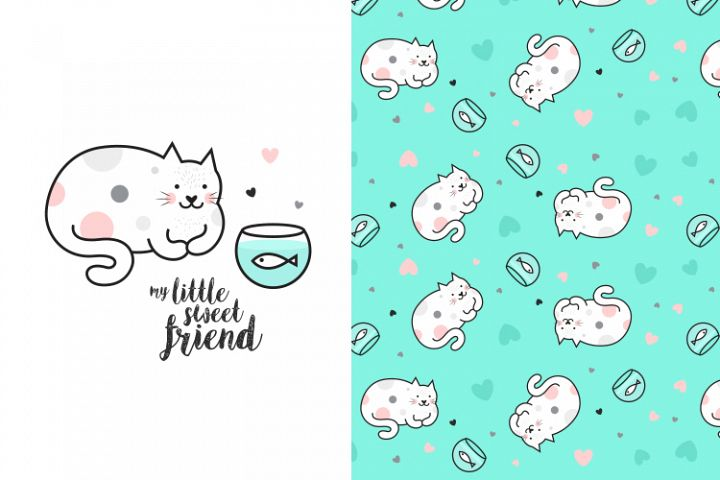 Cute kitty illustration with pattern