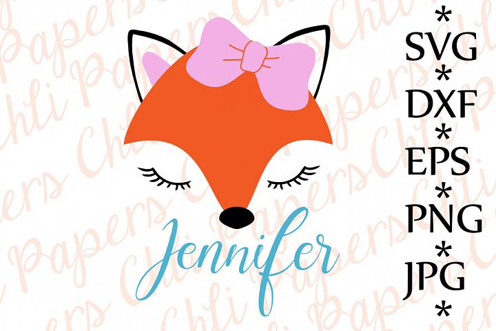 Fox Svg ,CUTE FOX SVG, Fox with bow Svg,ox cut files,Fox face Svg