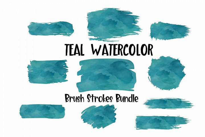 Teal Watercolor Brush Strokes Background Bundle PNG