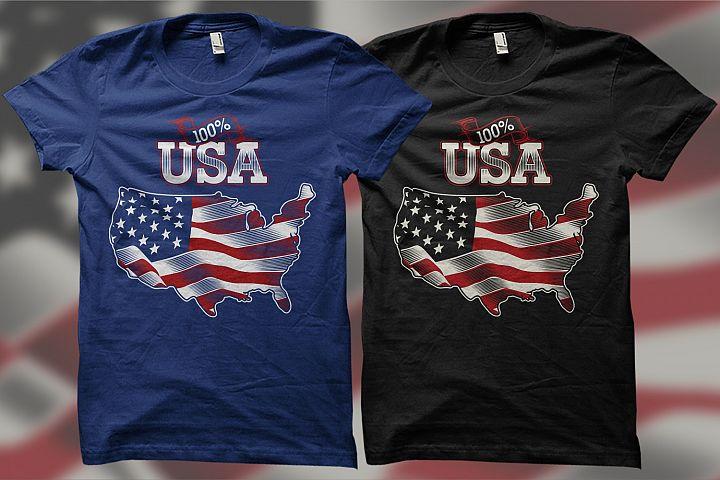 100 Percent USA - American Themes Illustration