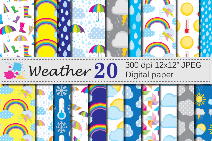 Weather Digital Paper / Sun, clouds, rain, umbrella papers