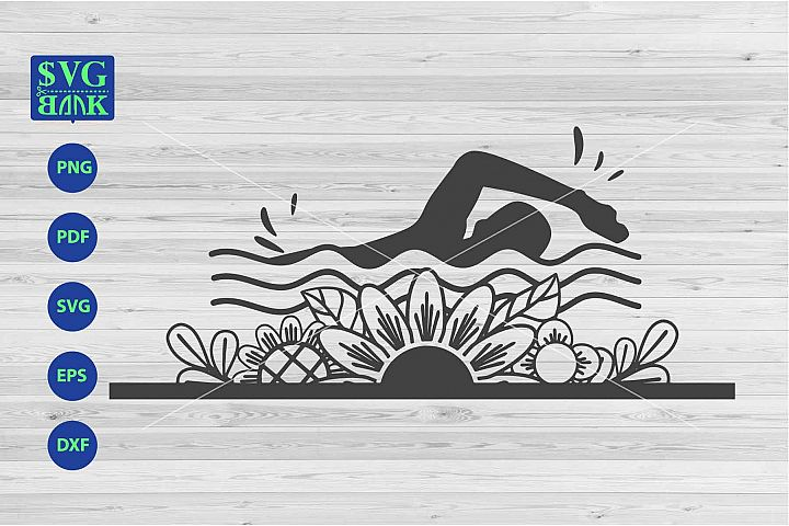 Swimming svg, Swimming with flower cut file dxf