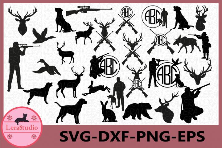 Hunting SVG, Hunting silhouettes, Hunting Monogram Frames