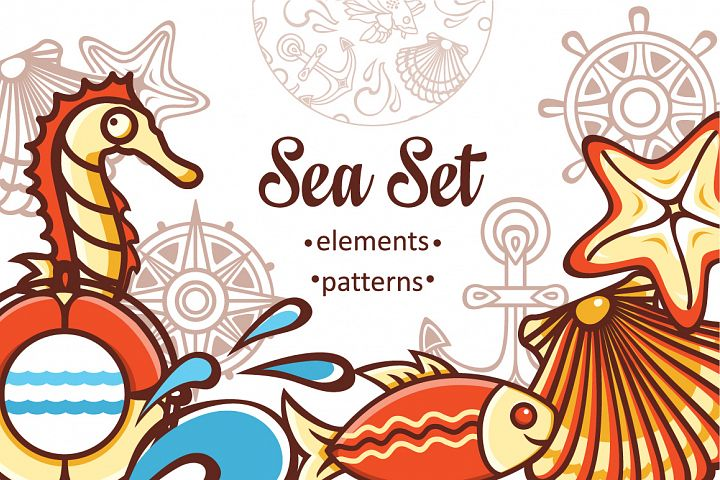 Marine and nautical decor.  Underwater life. Sea ornament. Eps, Png, Jpeg.