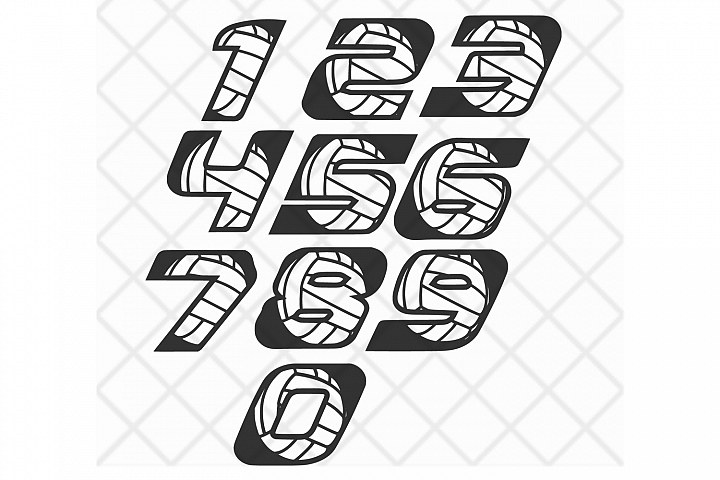 Volleyball numbers SVG DXF EPS