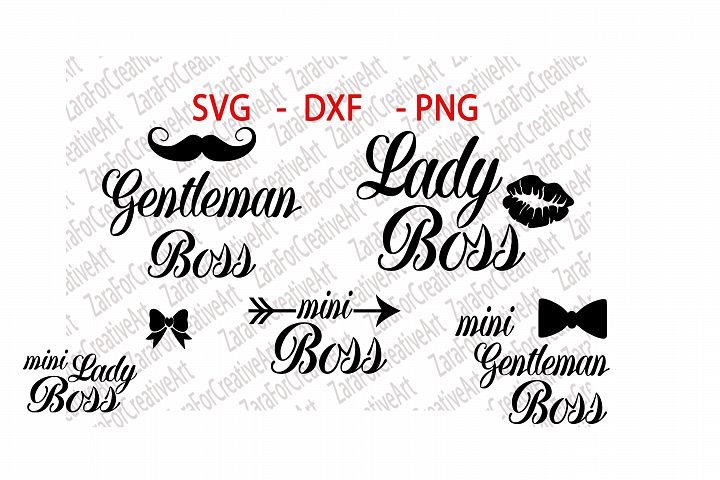 SVG , DXF , PNG , Gentleman Boss, Lady Boss, Mini Lady Boss , Mini Boss, Mini Gentleman Boss , Cutting files , Silhouette ,Cameo ,Die Cut