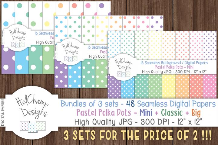 48 seamless Digital Papers - Pastel Polka Dots serie - DB002