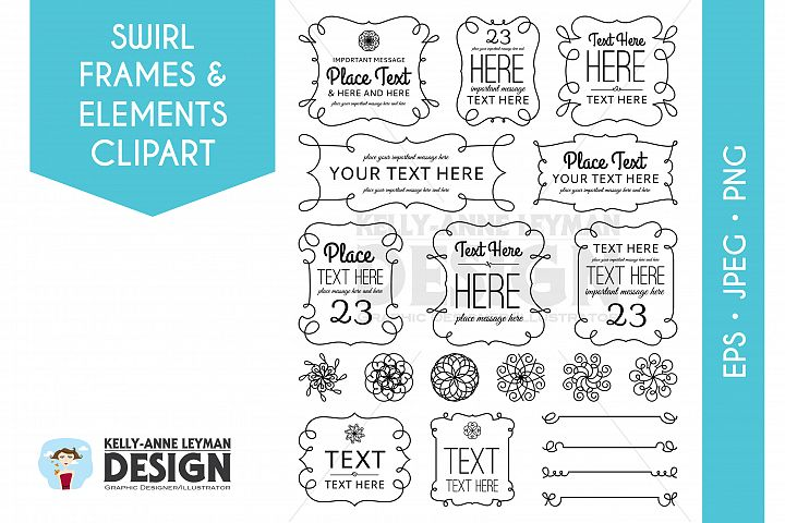 Swirl Digital Frames Clipart, Digital Labels Clip art set